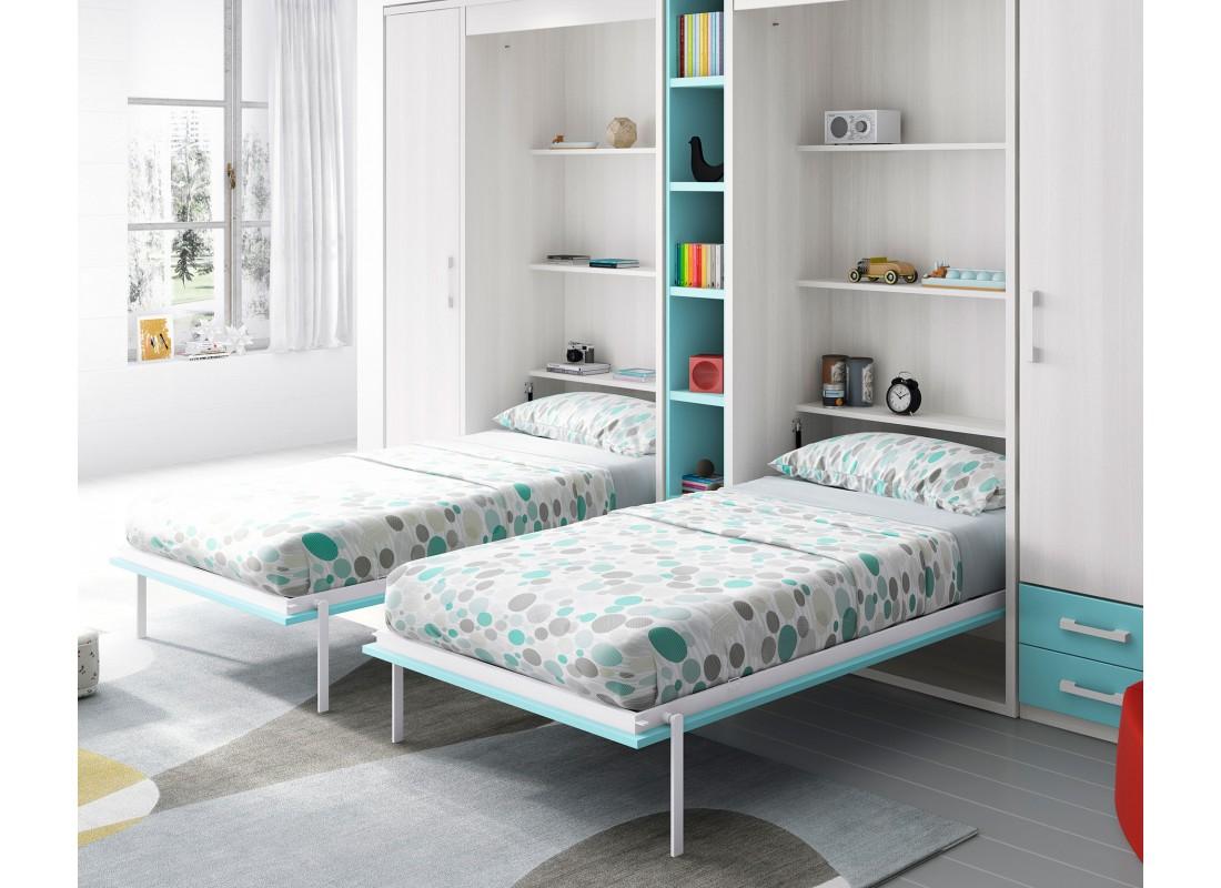 Dormitorios juveniles e infantiles con cama abatible vertical for Camas abatibles juveniles
